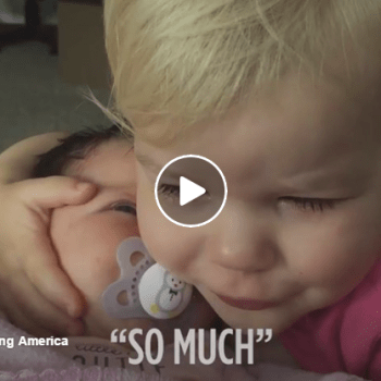 Cranky Toddler's Heart Melts When She Sees Her Baby Sister