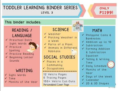 Homeschool Learning Resources Toddler Binder Series Level 3
