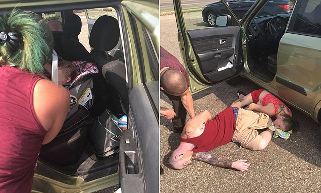 A construction worker and his fiancée say they rescued a sweating baby girl from a hot car after the child's parents overdosed on heroin.  Eric Asher shared photos of his ordeal in Canton, Ohio on social media, provoking outrage from shocked viewers.   The 43-year-old says he saw a man and a woman passed out on the ground of a parking lot as he drove past on Friday.  He then noticed a baby girl sweating in a car seat as temperatures reached 88F (31C).