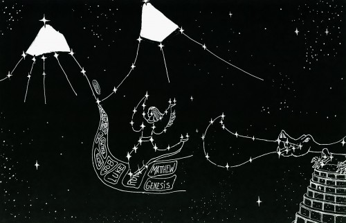 Constellation- Woman of Revelation 12 flees to the mountains Mark 13:14 (Not a star-chart, but only a concept picture)