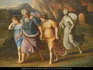 Lot and His Daughters flee Sodom by Raphael for www.wikigallery.com public domain