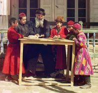 Jewish Children with their Teacher in_Samarkand_cropped wikipedia public domain