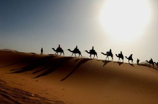 Maroc Sahara caravan wikimedia share-alike license