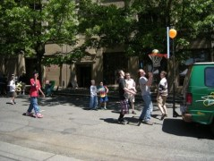 Street basketball during a church fair - wikimedia share-alike license