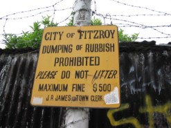 http://commons.wikimedia.org/wiki/File:Rubbish_sign,_Fitzroy,_Victoria.jpg