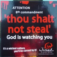 http://commons.wikimedia.org/wiki/File:Thou_shalt_not_steal.jpg
