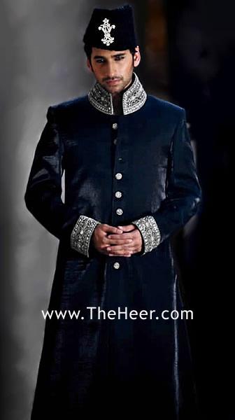 SW518 Dark Oxford Blue Velvet Sherwani esigner Sherwani for Groom Designer Wedding Sherwani