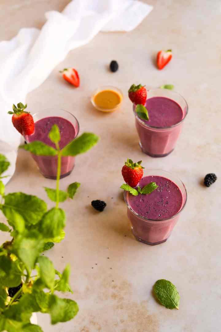Peanut Butter and Berry Smoothie with Mint Strawberries and Peanut Butter
