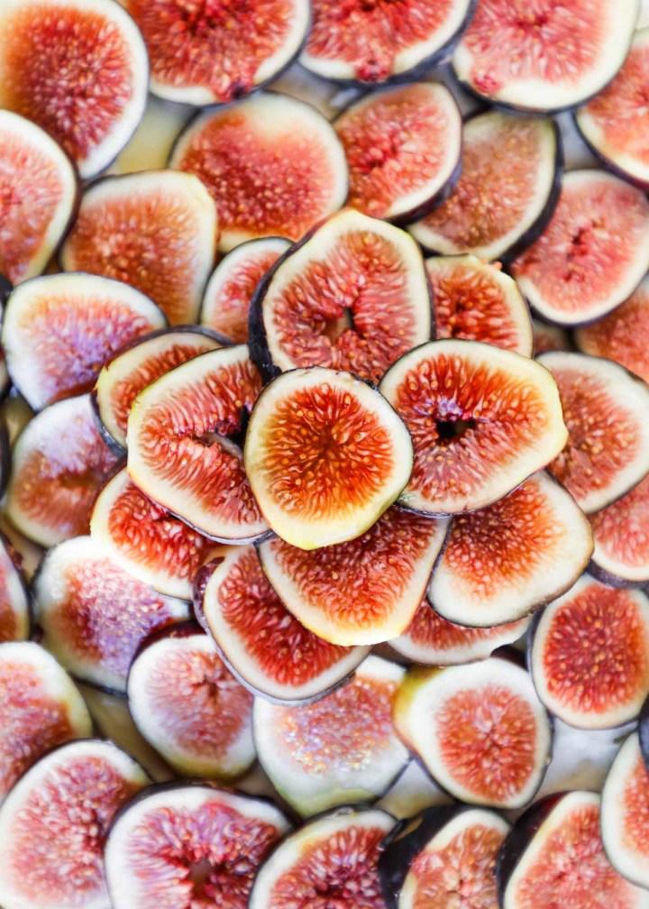 Sliced figs up close flatlay.