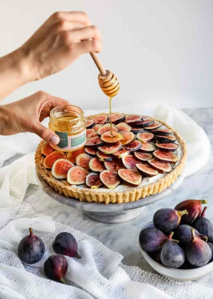 Honey glaze on top of Fig and Mascarpone tart.