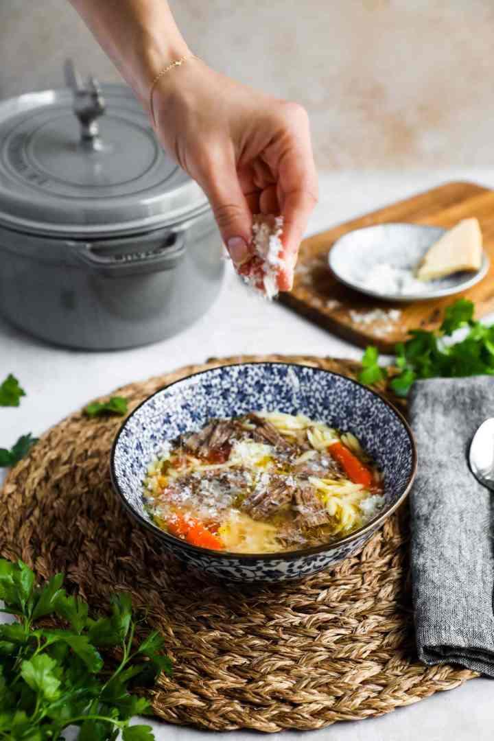 Parmigiano-Reggiano sprinkled onto Italian Beef Soup.