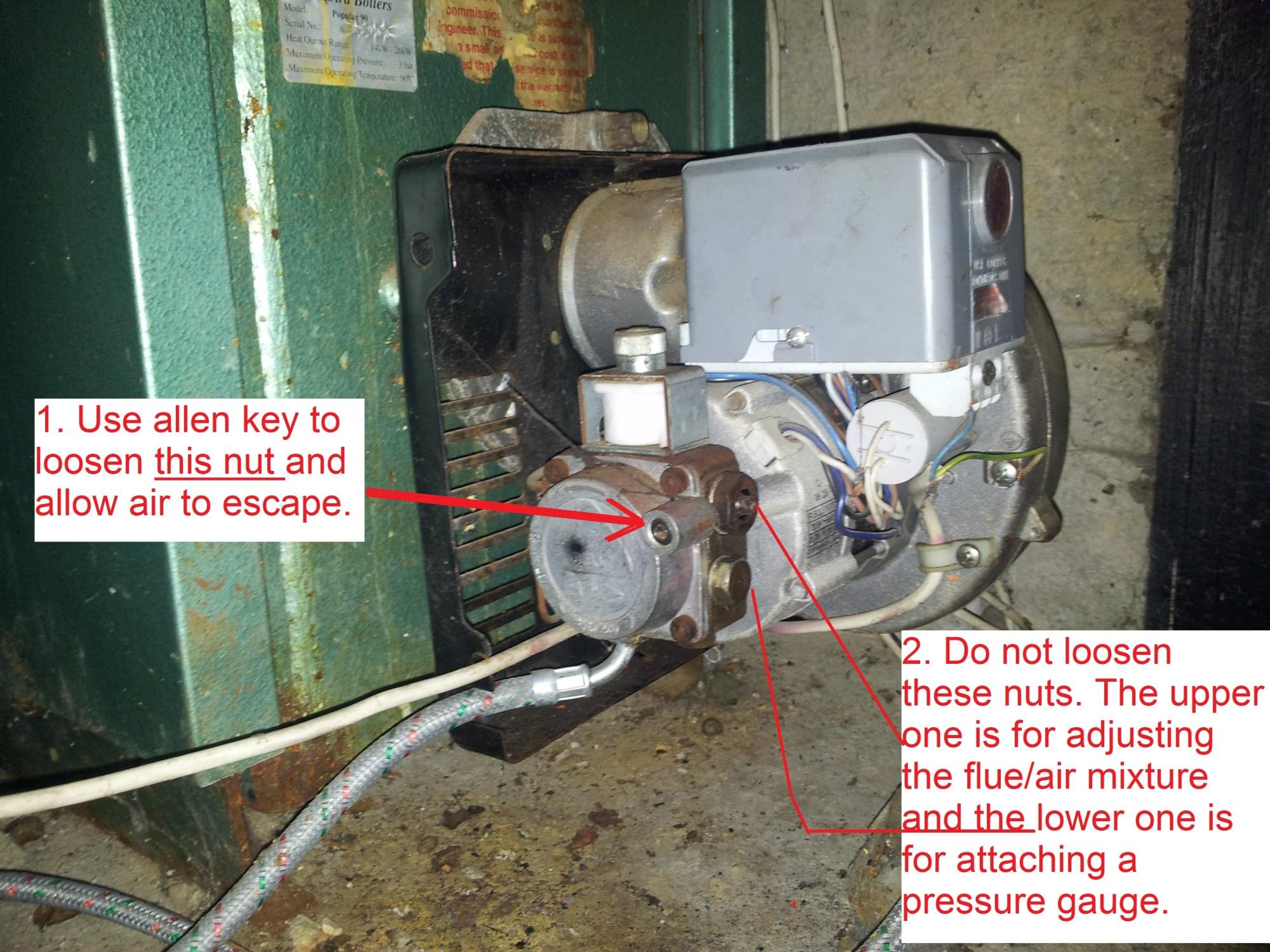 hight resolution of bleeding air from a firebird popular 90 oil boiler