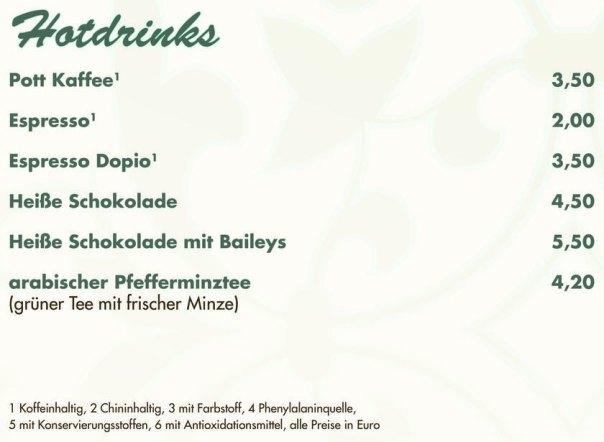 Hotdrinks, Kaffee, Espresso, heisse Schokolade