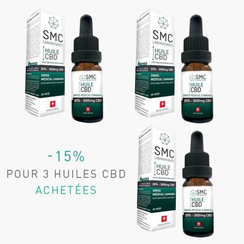 -15% pour 3 Huiles CBD 30% achetées | SMC Laboratories