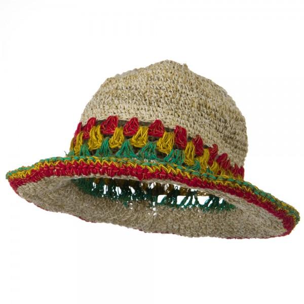 Hemp with Rasta Brim Hat - Natural RGY