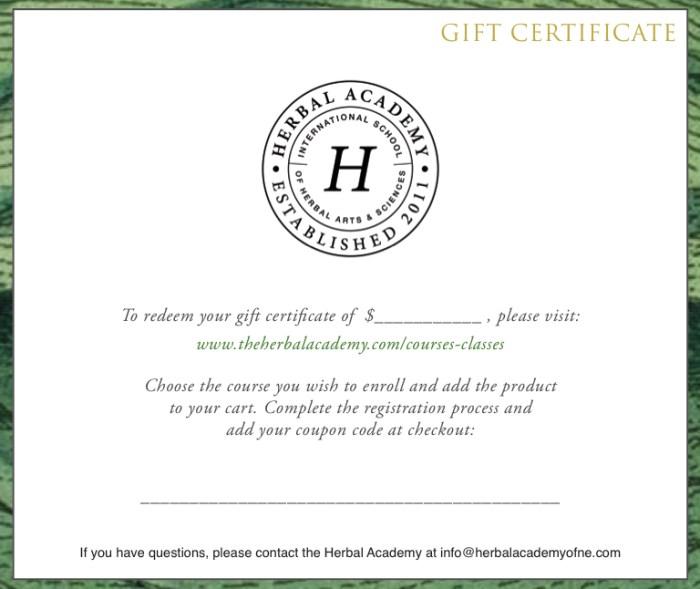 Herbal Academy dollar amount Gift Certificate