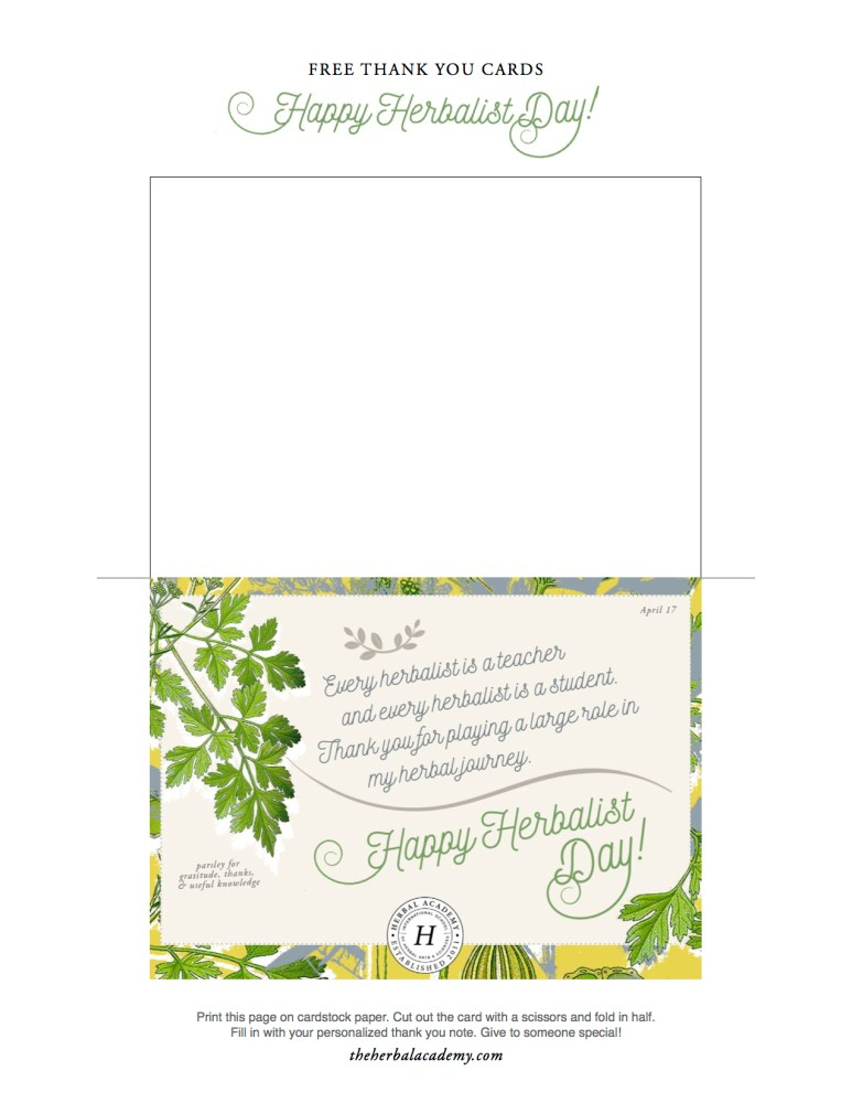 Herbalist Day - Free Thank You Cards by Herbal Academy 4