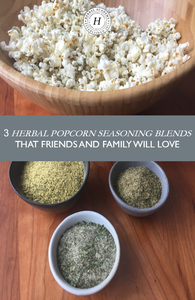 3 Herbal Popcorn Seasoning Blends That Friends and Family Will Love | Herbal Academy | Busy families need quick healthy snacks! Try these herbal popcorn seasoning blends that the whole family will love!
