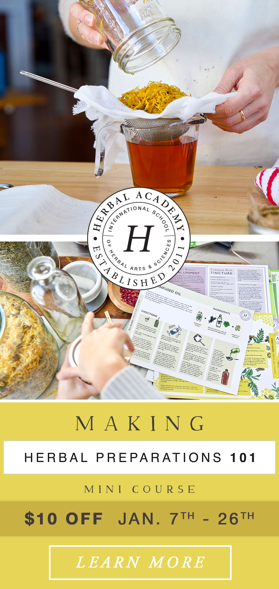 Enroll now in the Making Herbal Preparations 101 Mini Course