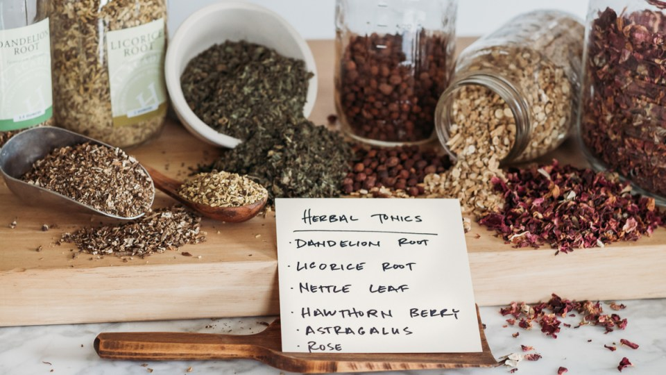 herbal tonics displayed on a table