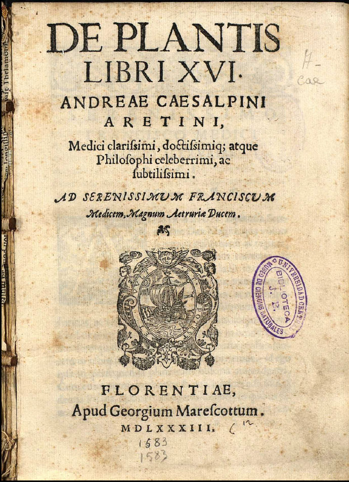 "Title page from Theophrastus' book, ""An Inquiry of Plants"""