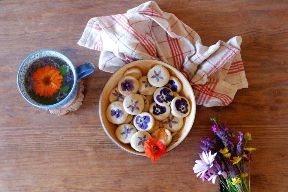 herbal cookies and tea