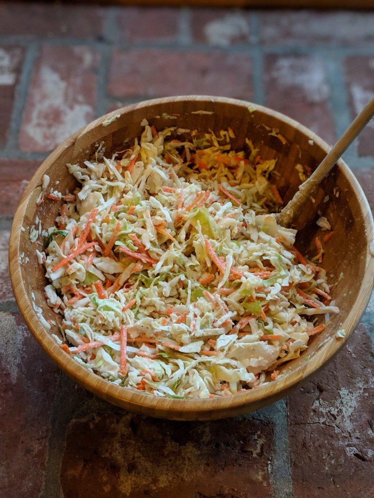 healthy vegan coleslaw gluten free vegetarian cabbage carrots classic pantry staple dressing