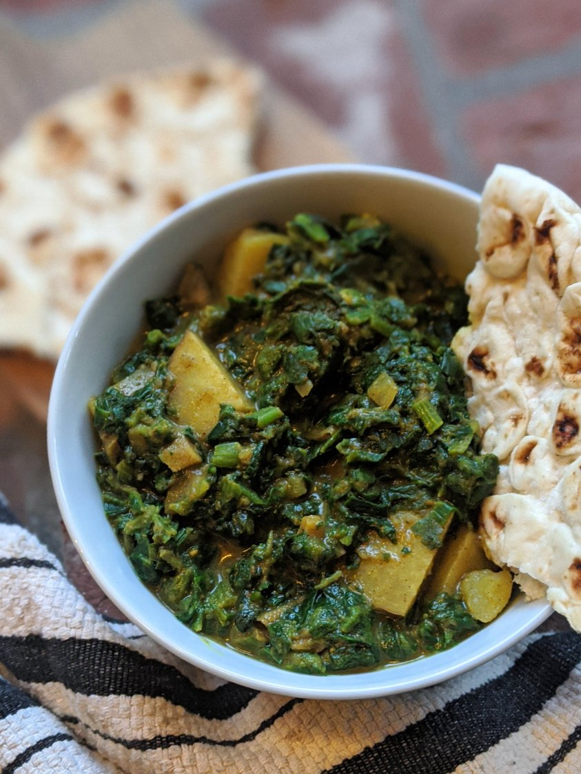 slow cook spinach potatoes saag aloo instant pot vegan gluten free indian recipes healthy weeknight meals