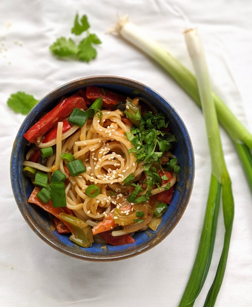 vegan gluten free peanut noodles recipe plamt based spicy rice noodles in a peanut sauce with sesame seeds green onion bell pepper carrots and cilantro