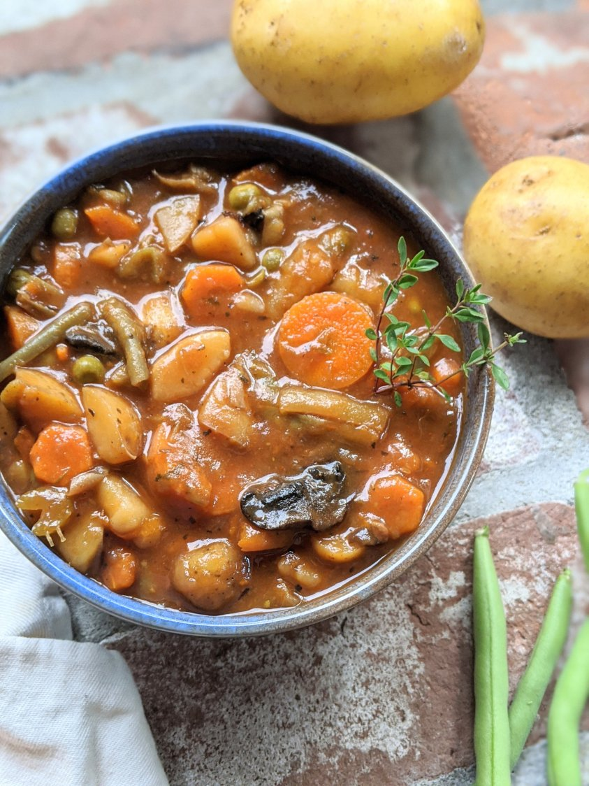 vegan beef stew recipe hearty potato soup with vegetables and carrots mushrooms thyme recipes irish stew vegan vegetarian gluten free meatless beefless high protein
