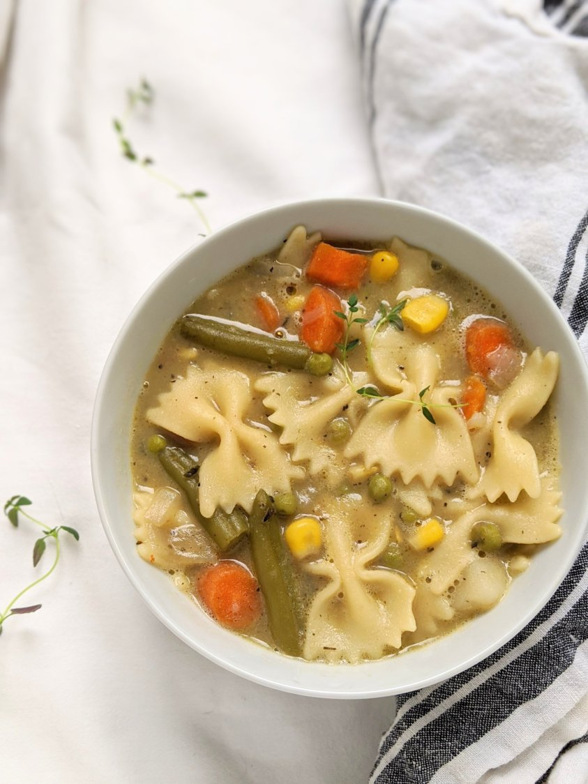 vegetarian pot pie soup recipe with noodles vegetables and homemade vegetable stock vegan gluten free comfort food soup recipes for winter or fall