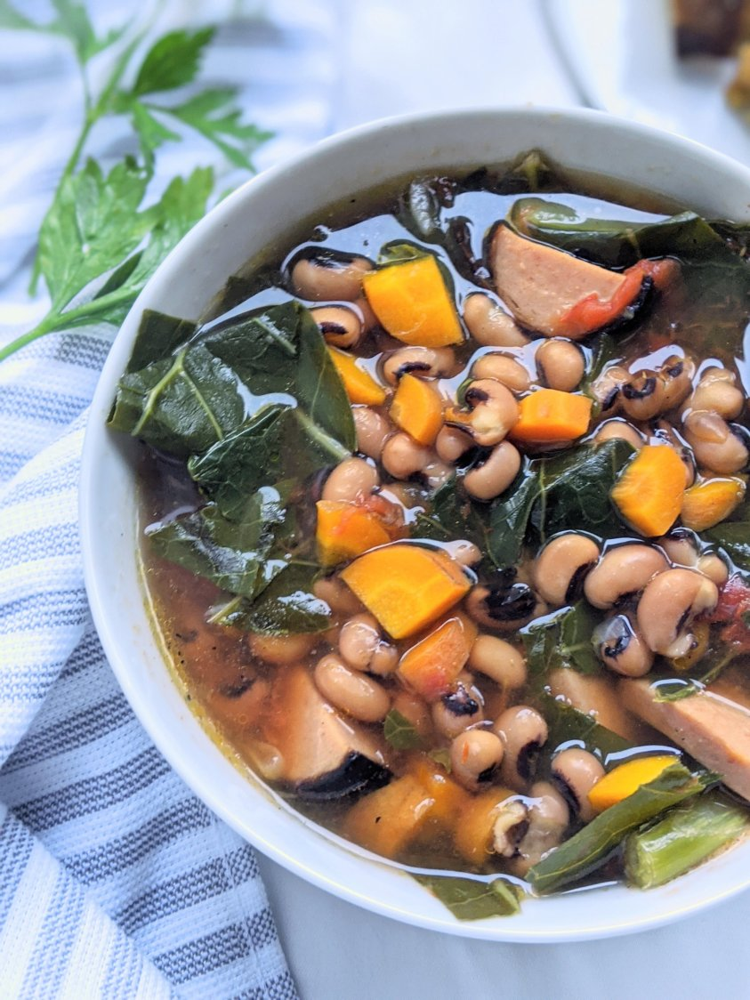 easy vegan black eyed pea soup recipe with sausage and collard greens spinach kale healthy gluten free vegetarian no eggs no dairy