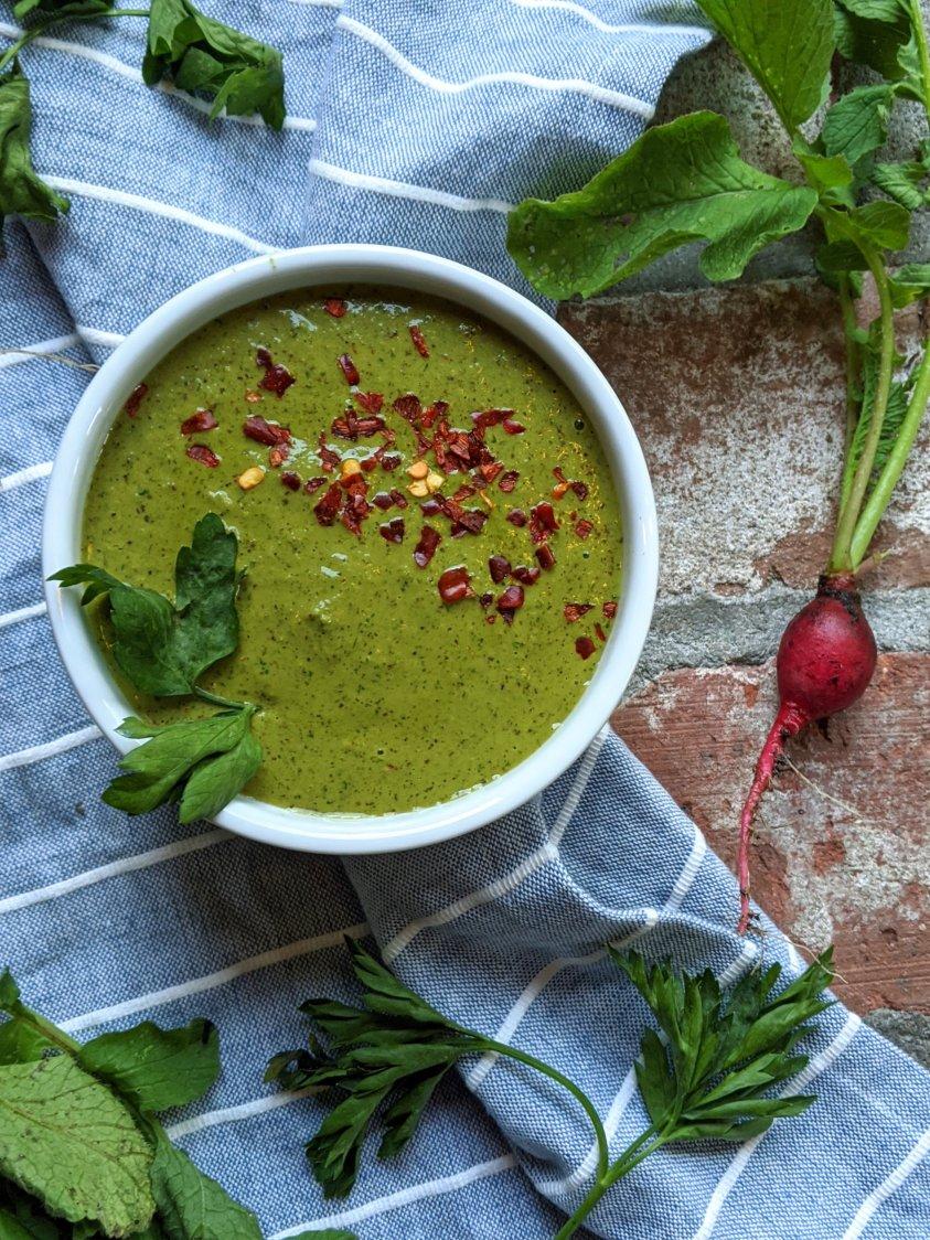 radish sauce recipes with red garden radishes for steak meat heatlhy radish sauce chimichurri spicy radish sauce gluten free vegan vegetarian