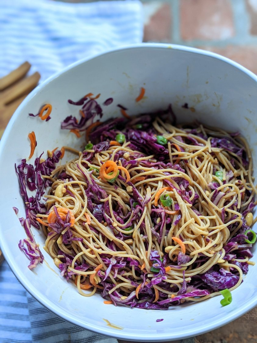 sweet and salty pasta salad recipe made with peanut sauce vegan gluten free vegetarian meatless side dishes pasta salad recipes asian for a crowd rice noodle or asian spaghetti salad reipe
