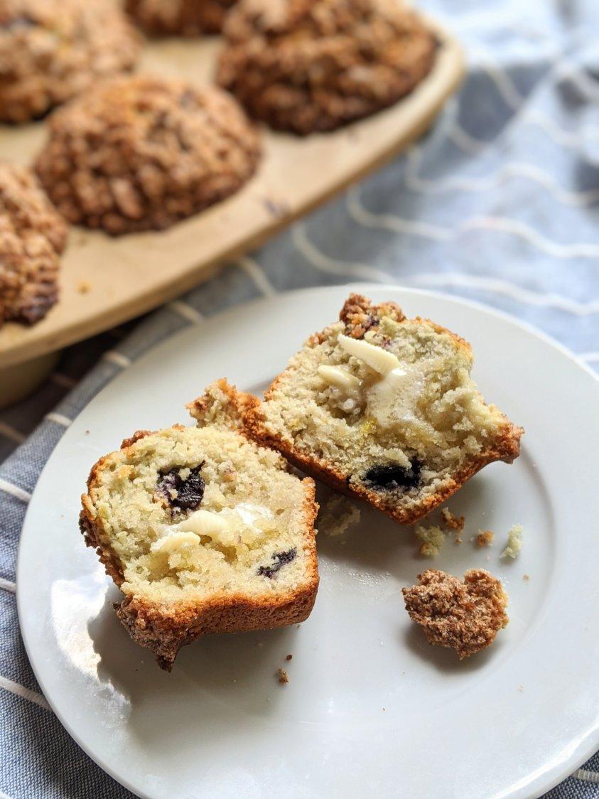 cinnamon sugar blueberry crumble mufins recipe vegan gluten free options healthy easy muffins weekend brunch breakfast recipes