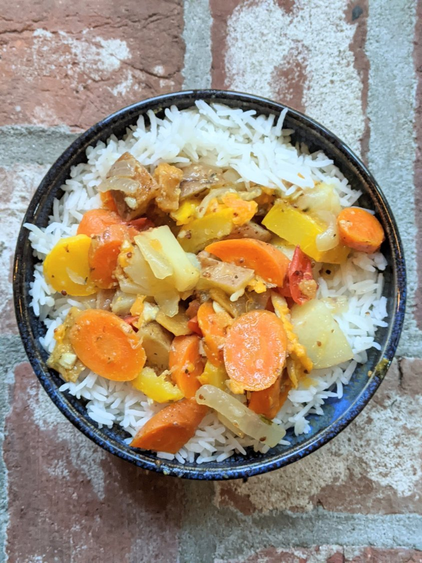 fancy side dishes instant pot vegan gluten free vegetarian healthy root vegetable stew with carrots potatoes sweet potatoes onion garlic and parsnips in lemon caper sauce