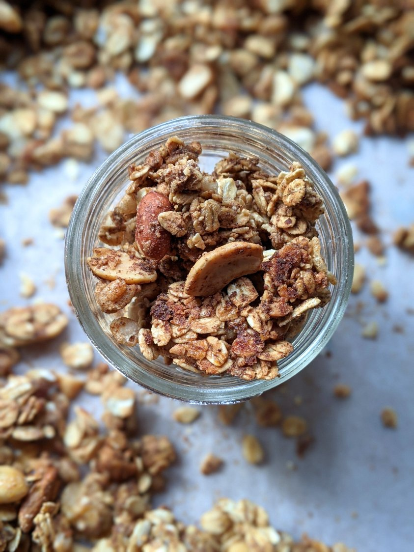 homemade cinnamon crunch granola recipe with cashews peanuts almonds walnuts healthy fats for breakfast recipe for yogurt bowls or smoothies or top oatmeal with granola recipe veganuary meatless breakfasts and brunches