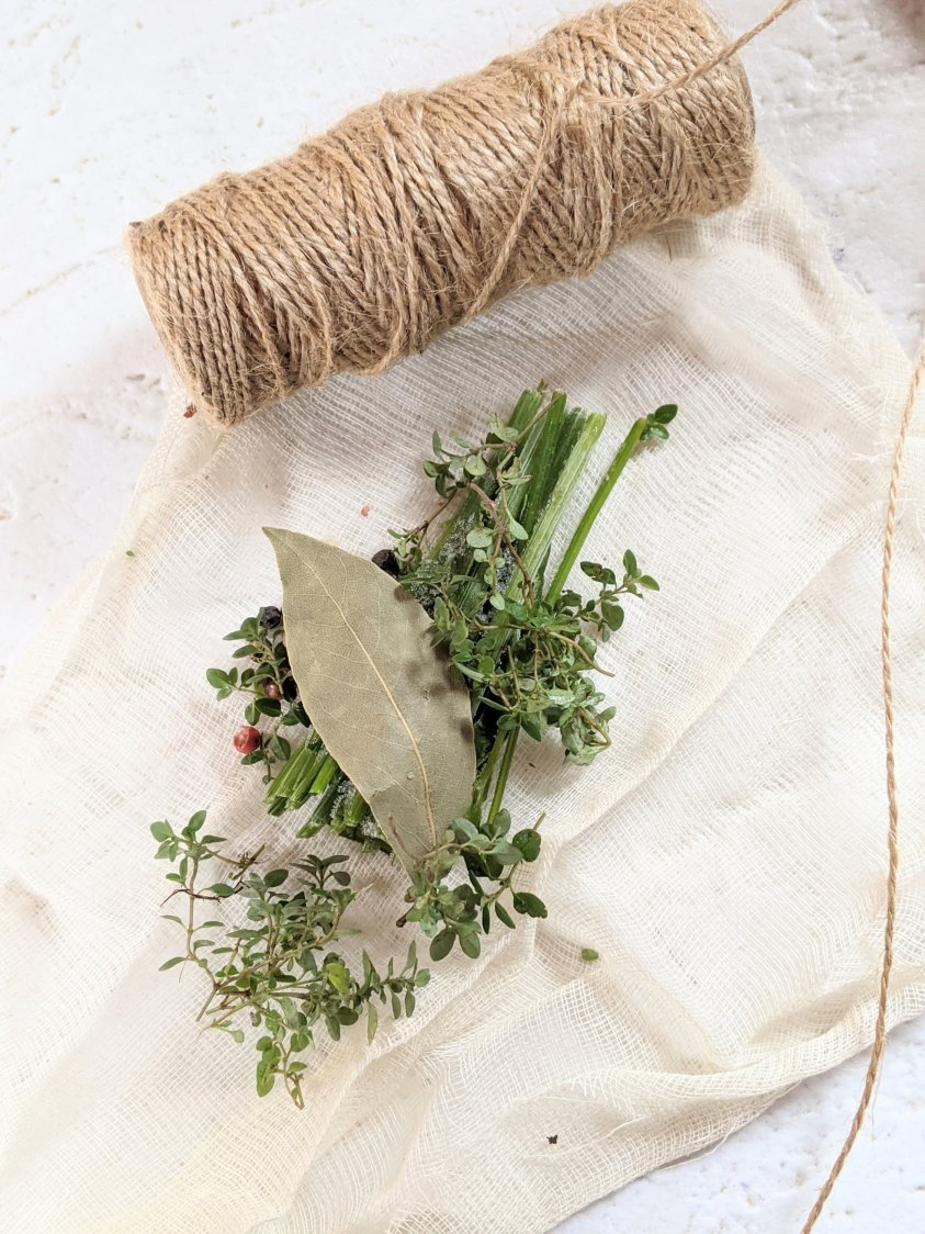 how to make a spice sachet with cheese cloth recipe bakers twine bay leaves garlic thyme recipe for demi glace vegetarian recipes