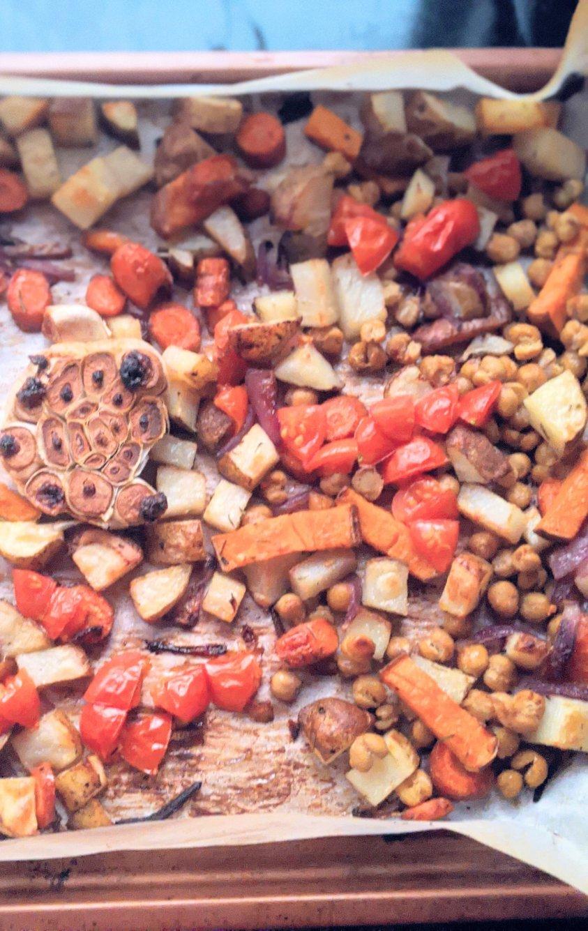 one pan dinner ideas vegan vegetarian roasted root vegetables sheetpan meal wiht lemon caper vinaigrette recipe meatless gluten free whole30 paleo dinner recipes
