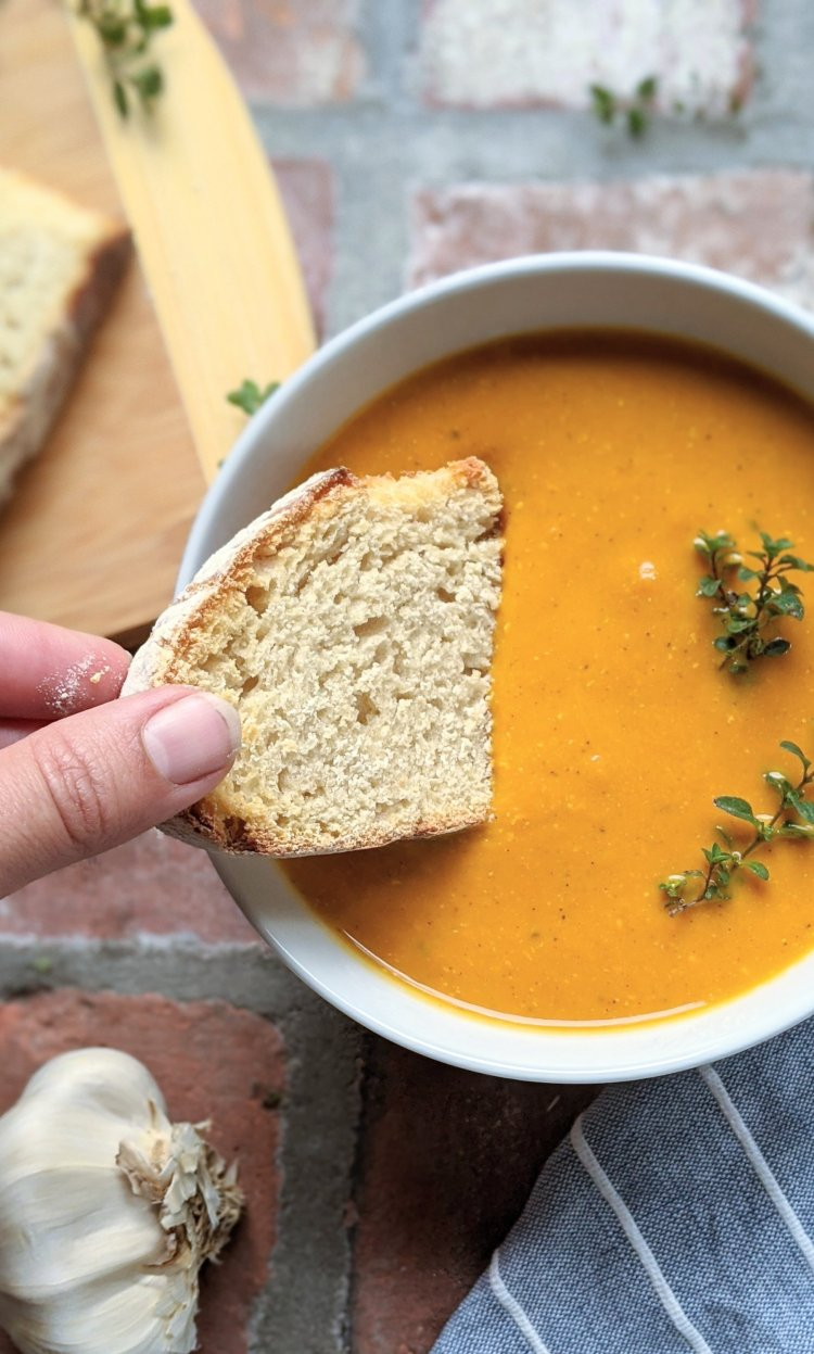 roasted vegetable soup with carrots ginger onion garlic almond milk vegan plant based detox soup recipes low calorie skinny soup recipes healthy vegetarian meatless meals