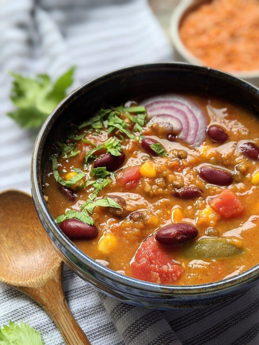 pantry chili recipe with beans lentils vegan gluten free tomatoes corn