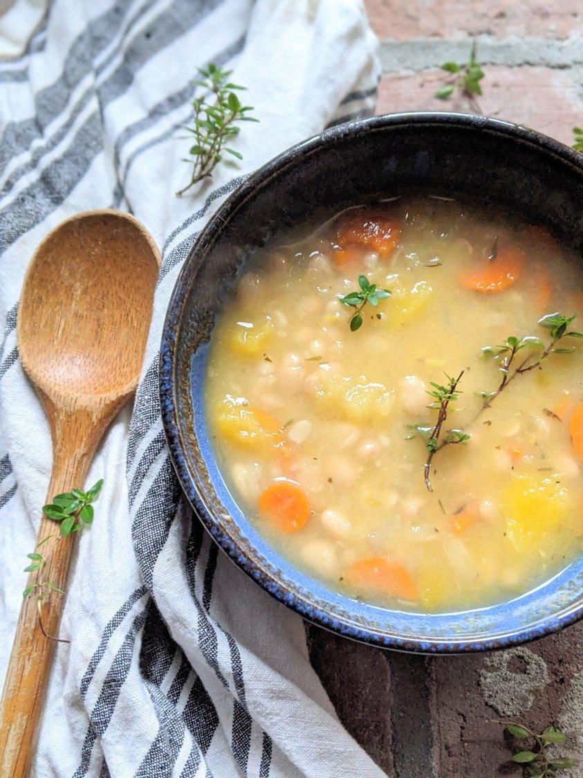gluten free healhy vegan white bean soup low calorie delicious healthy butternut squash carrots and beans