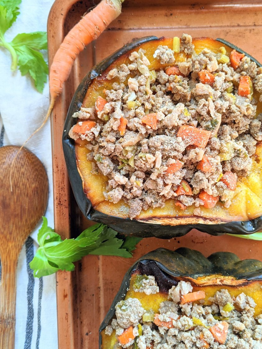 acorn squash with ground turkey stuffed with carrots, onion, celery, sage, spices keto recipes