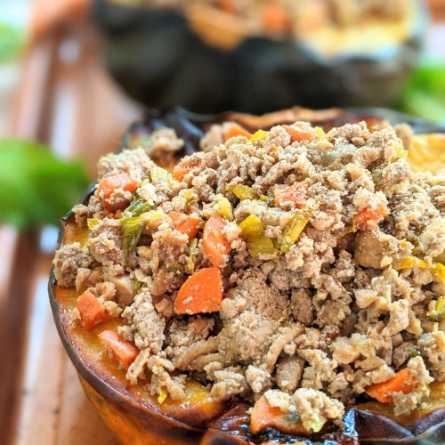 low carb keto acorn squash recipe with thanksgiving leftovers turkey and vegetables
