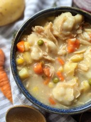 gluten free chicken and dumplings soup healthy dairy free no milk gluten free option thanksgiving leftovers recipe