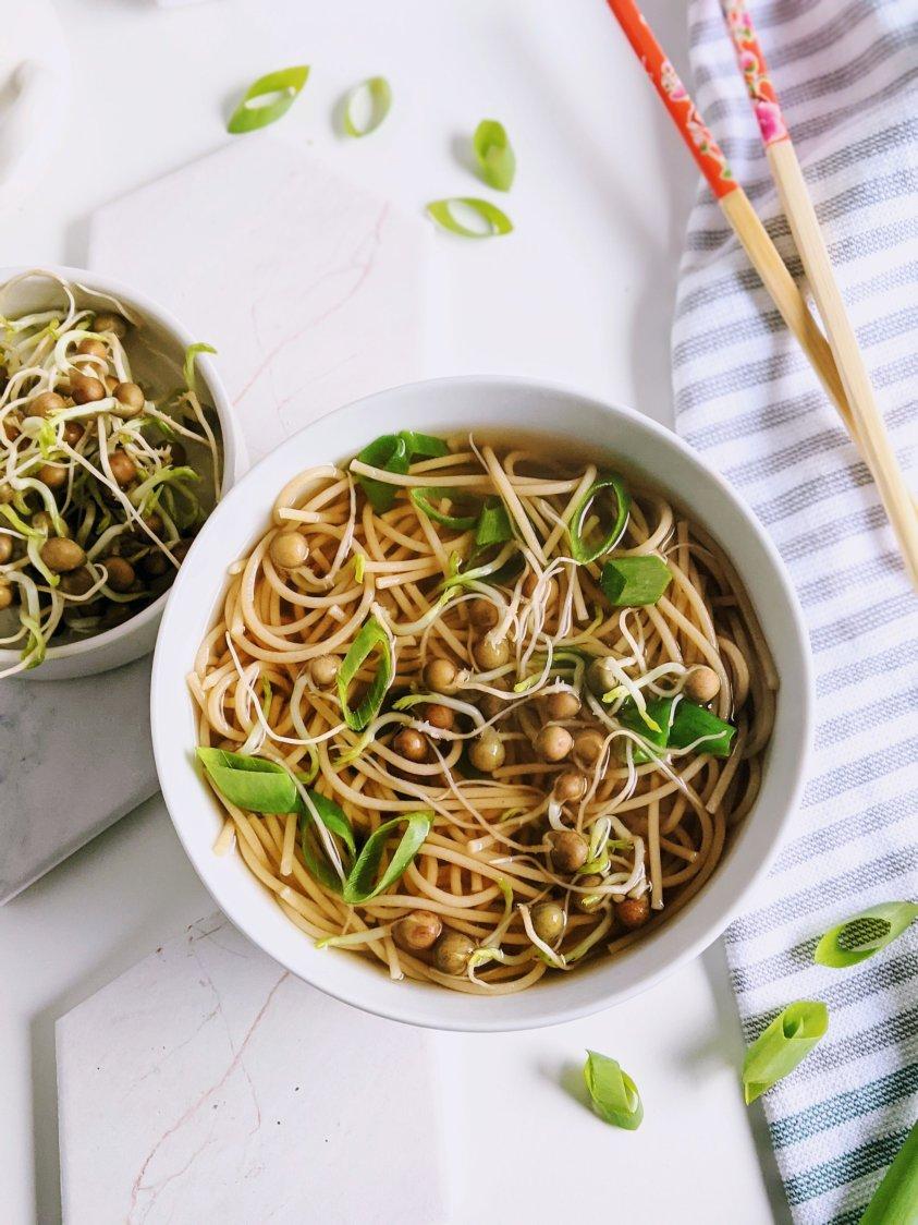 healthy pho soup recipe vegetarian vegan no meat vegetables rice noodles gluten free sriracha tamari or soy sauce