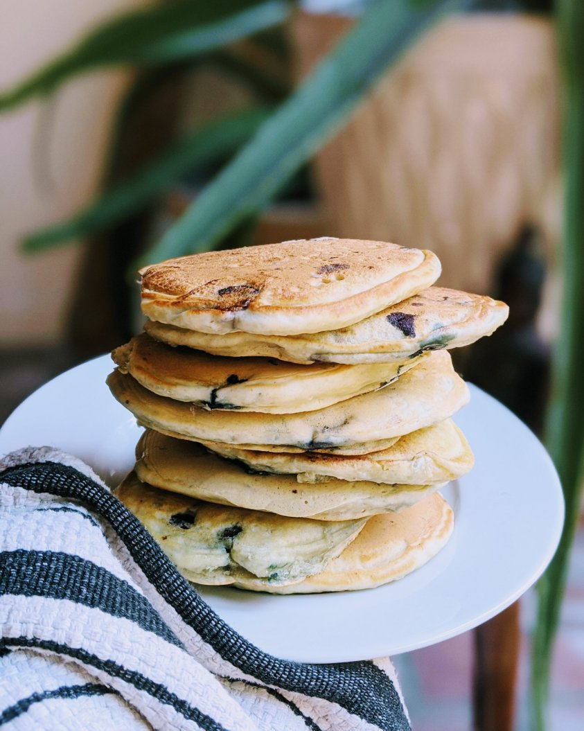 healthy blueberry pancakes with buttermilk or vegan version with almond milk or coconut milk from scratch breakfast recipes
