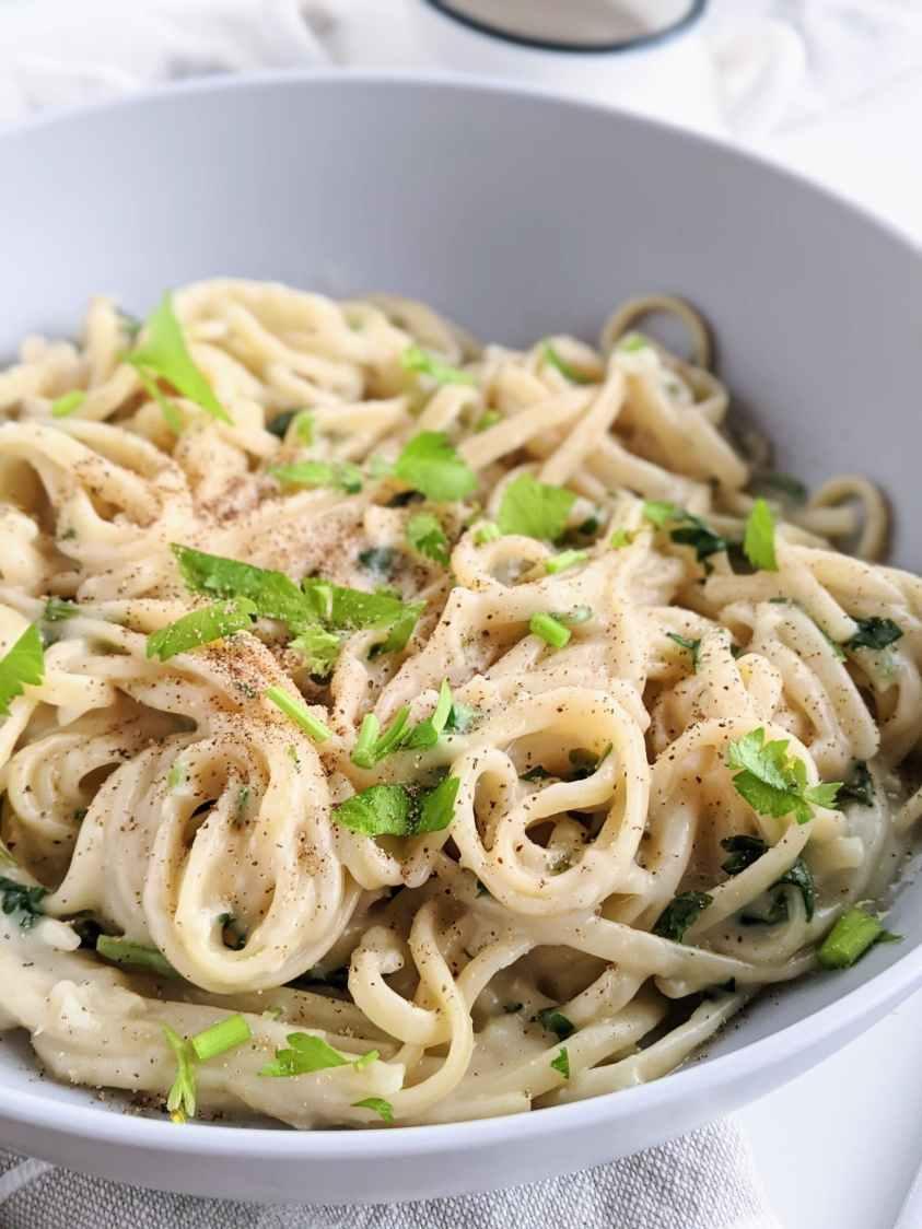 oat milk alfredo cheap easy vegan inexpensive pasta recipe healthy plant based milk nut milk oatmeal simple
