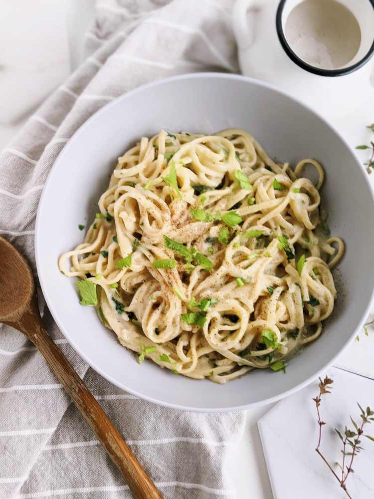 oat milk alfredo recipe vegan creamy gluten free healthy homemade pasta recipe 20 minutes easy weeknight dinners oat milk