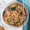 vegan peanut noodles recipe creamy healthy high protein vegetables asian inspired easy weeknight meal dinner lunch 15 minute recipe